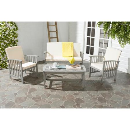 grey wash acacia wood 4 piece outdoor furniture set