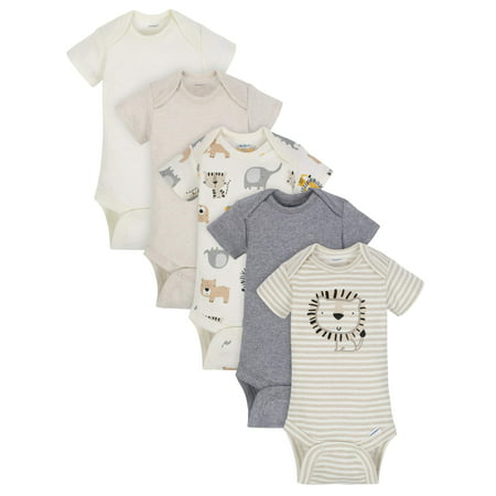 Gerber Organic Cotton Short Sleeve Onesies Bodysuits, 5pk (Baby Boy) Baby Deer Long Sleeve Onesie