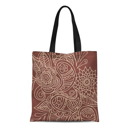 ASHLEIGH Canvas Tote Bag Roses Flowers Paisley Daisy Nature Leaves Collage Garden Whimsical Reusable Handbag Shoulder Grocery Shopping Bags