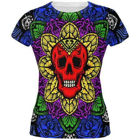 Halloween Demon Skull Mandala All Over Juniors T Shirt - Halloween Kitty Mandala