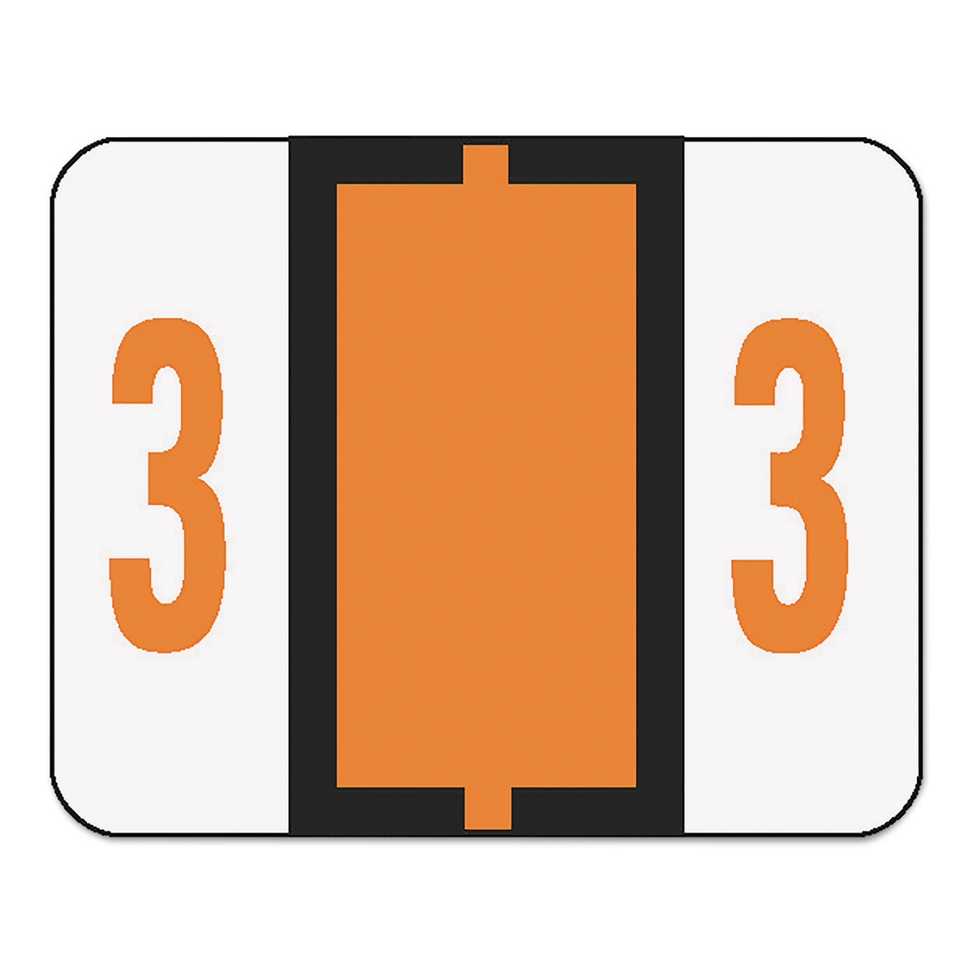 Smead Single Digit End Tab Labels, Number 3, Dark Orange, 500/Roll