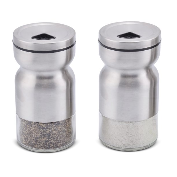 Home Ec Premium Salt And Pepper Shakers With Adjustable Pour Holes Elegant Stainless Steel Salt And Pepper Dispenser Perfect For Himalayan Kosher And Sea Salts Spices W Collapsible Funnel
