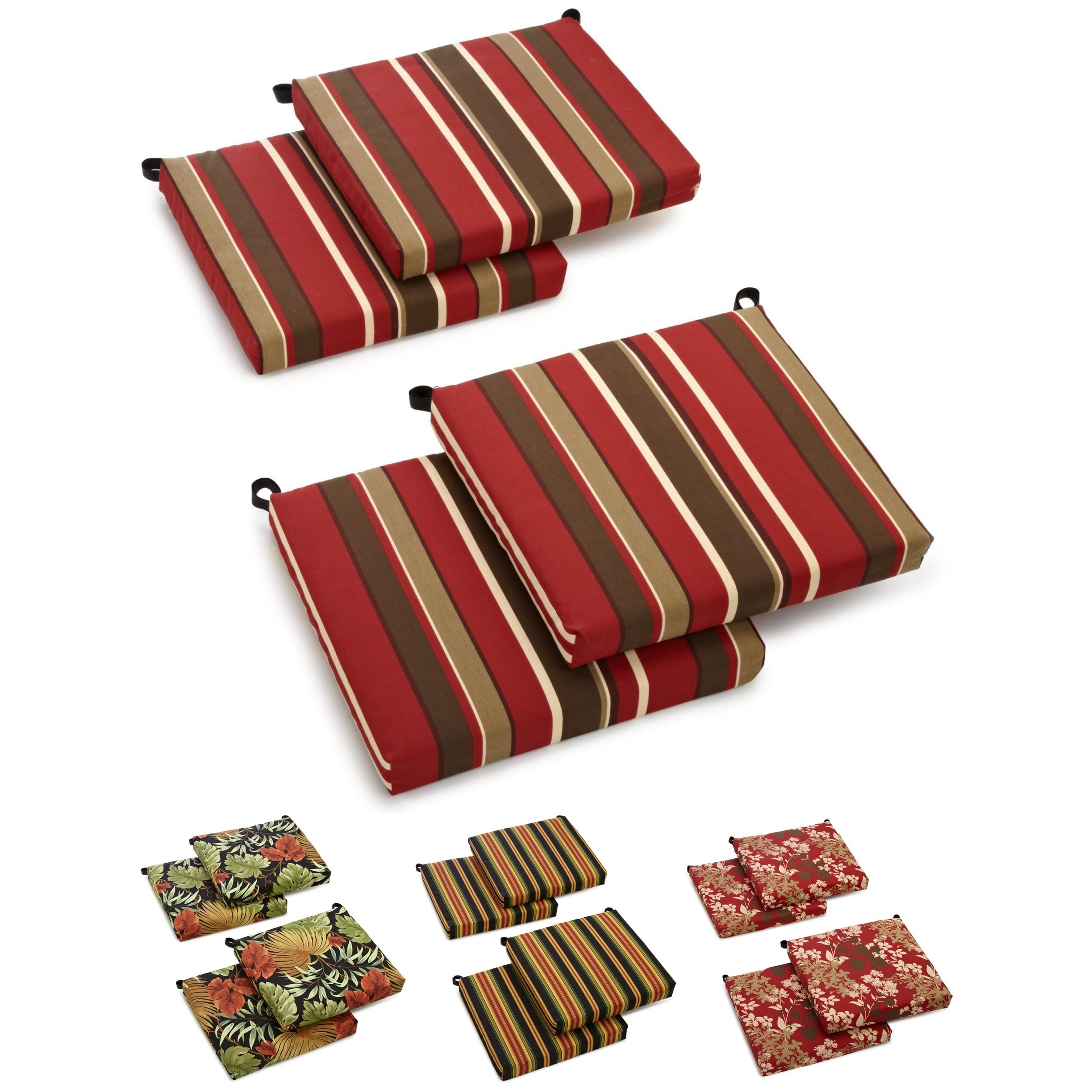 blazing needles allweather outdoor patio chair cushion set of 4 - Lawn Chair Cushions