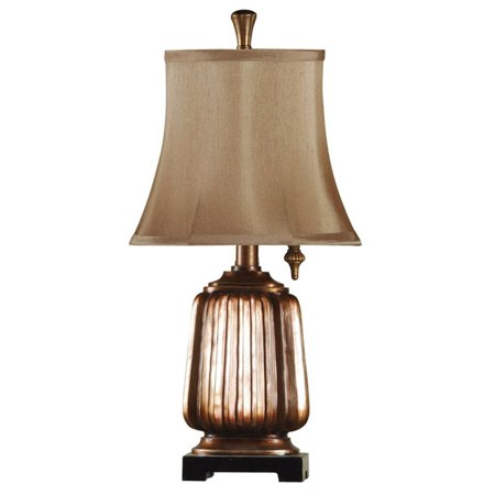 Mini Accent Table Lamp - Antique Copper Finish - Brown Softback Fabric Shade