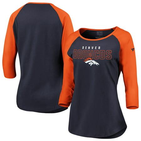 Nfl Denver Broncos Helmet (Denver Broncos NFL Pro Line by Fanatics Branded Women's Iconic Color Block 3/4-Sleeve Raglan T-Shirt - Navy/Orange)