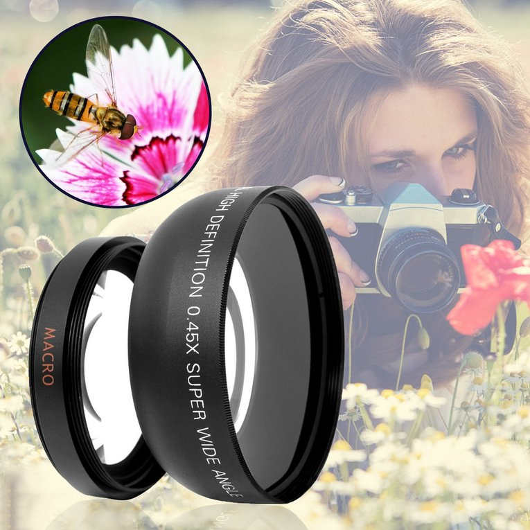 HD 0.45x0.45 Super Wide Angle Lens with Macro Optical Lens Camera Lens Kit,Black