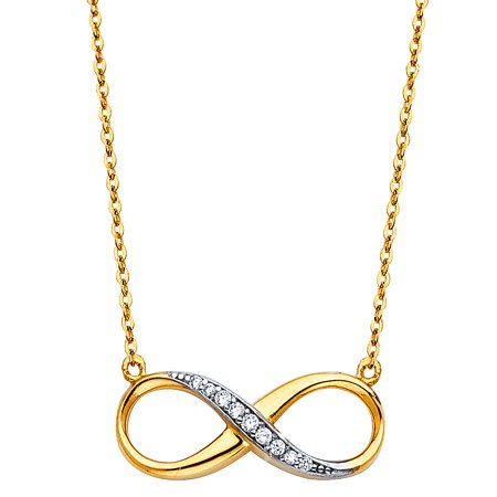 FB Jewels 14K Yellow Gold Floating Semi Lined Cubic Zirconia CZ Infinity Chain Necklace 17 Inches