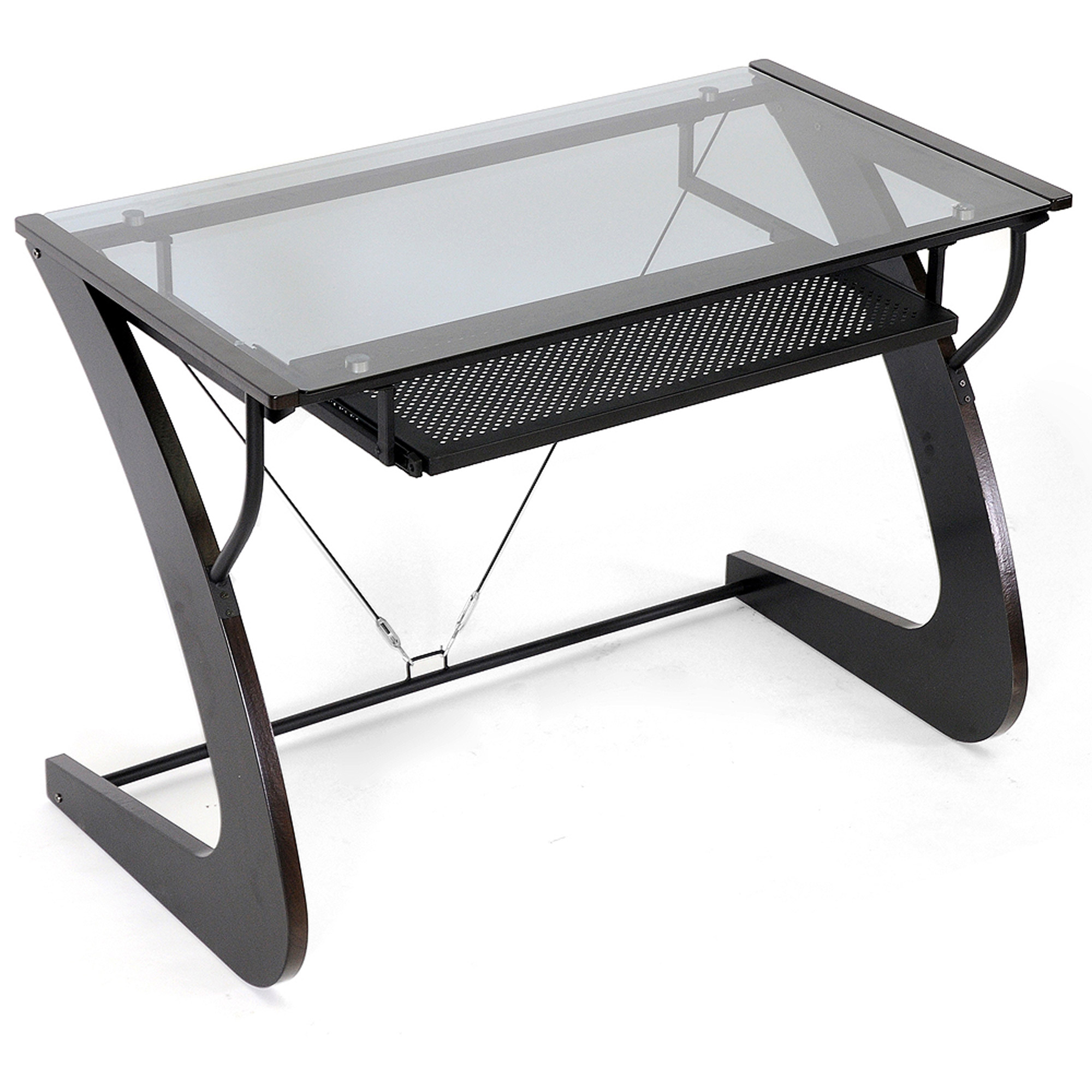 Flash Furniture Glass Computer Desk With Pull Out Keyboard Cherry Com