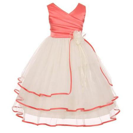 Chic Baby Big Girls Coral Taffeta Layered Flower Girl Dress 12](Girls Dresses 12)