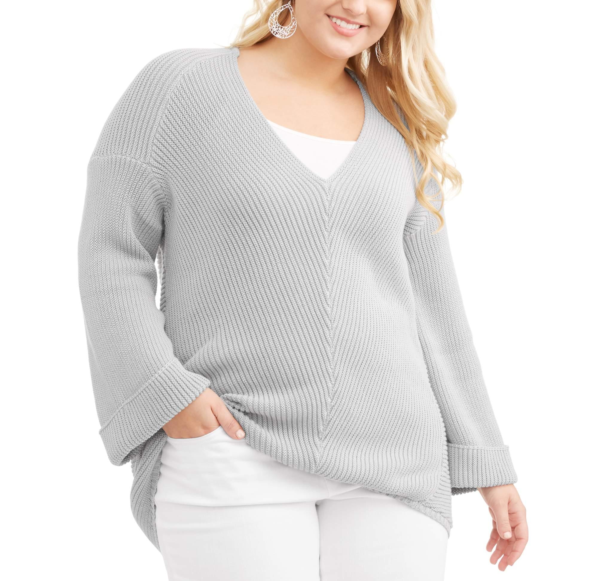 Junior Plus V Neck Cuff Long Sleeve Sweater