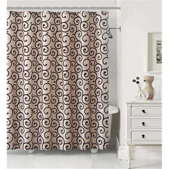 Luxury Home Maya Faux Silk Shower Curtain Set, Taupe & Chocolate - 72 x 72 inch - 13 Piece Set