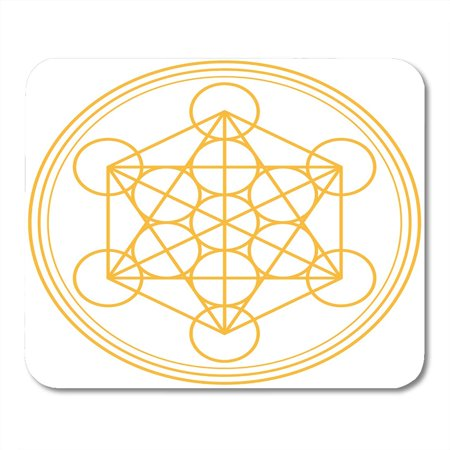 SIDONKU Yellow Geometry Metatron Cube Gold and Merkaba Derived from The Flower of Life Ancient Symbol on White Mousepad Mouse Pad Mouse Mat 9x10 inch