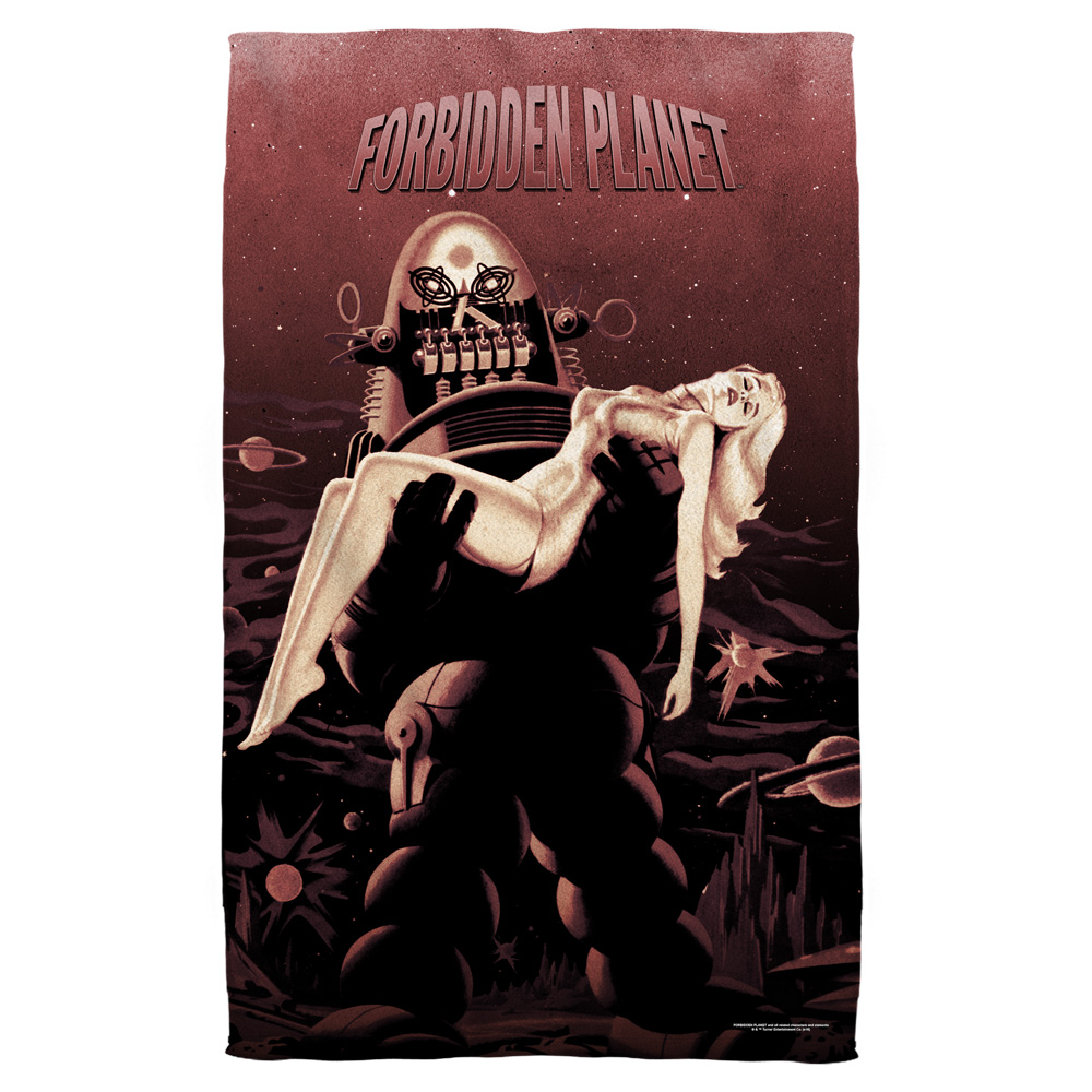 Forbidden Planet Poster Beach Towel White 36X58