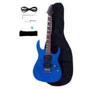 170 Professional Burning Fire Style Electric Guitar with Acoustic Pick-up/Guitar Bag Blue