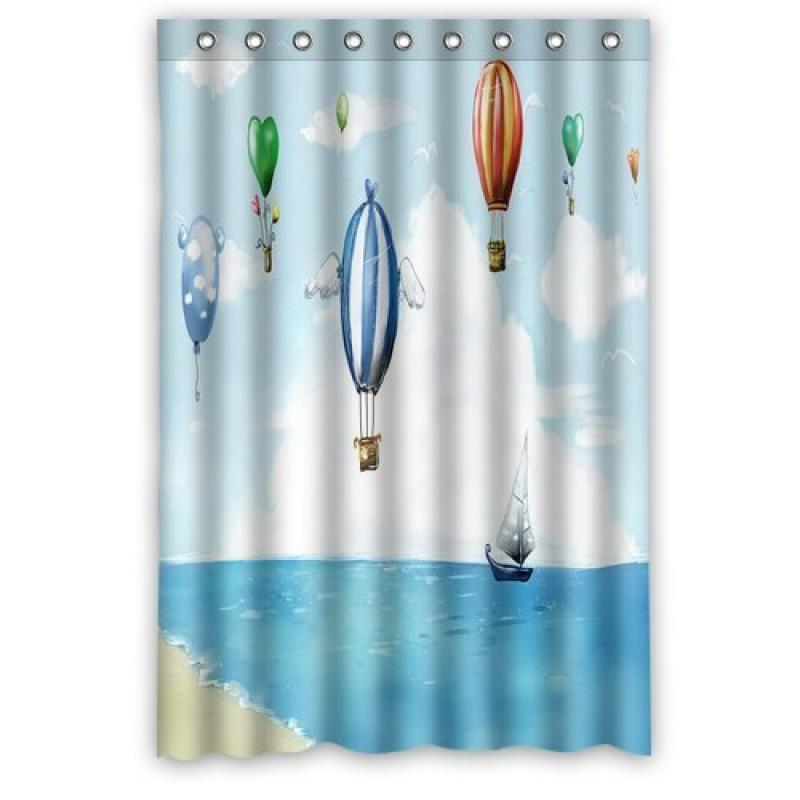 Merveilleux Art Paint Balloon Hot Air Balloon Ship Boat Fashion Shower Curtain, Shower  Rings Included 100