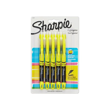 24527PP Accent Pen-Style Highlighter, Yellow, 5-Pack, Chisel tip provides versatility in highlighting width. By Sharpie - Do Highlighters Glow In Blacklight