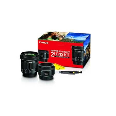 Canon Portrait & Travel 2 Lens Kit with 50mm f/1.8 and 10-18mm f/4.5-5.6 Lenses + Buzz-Photo (Best Lens To Use For Portraits)
