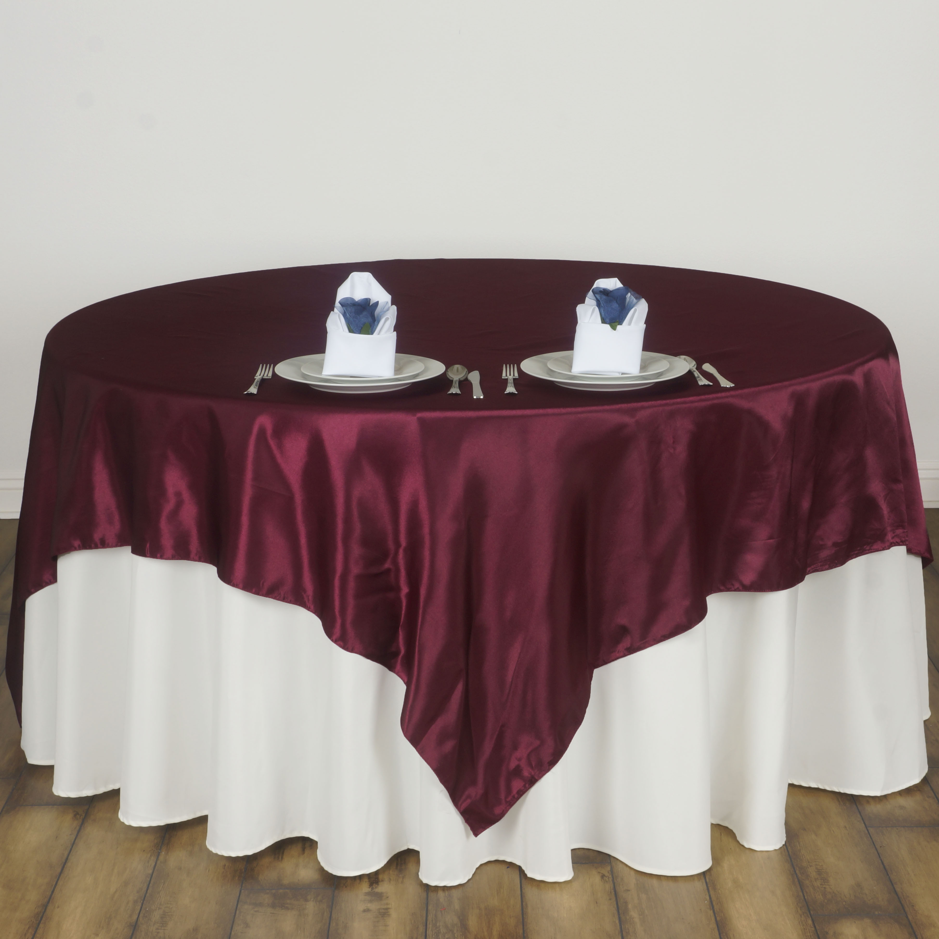 """BalsaCircle 60"""" x 60"""" Square Satin Table Overlays - Wedding Party Reception Catering Linens Dinner Banquet Event Decorations"""