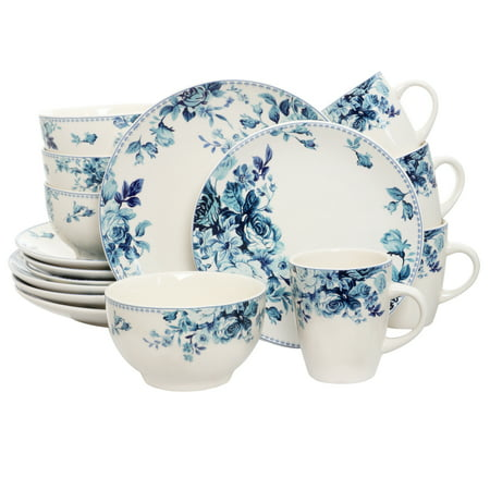 Elama Blue Rose Traditional 16 Piece Elegant Dinnerware Set