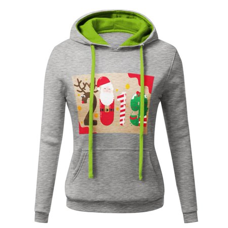 1581c492825 Codream - Christmas Sweater Women 2018 Autumn Winter 2019 Letter Print Patchwork  Sweatshirt hooded Jumper Pullovers Outerwear Tops Couple Wear Hoodies ...