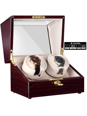 Automatic Handmade Double Watch Winder with Quiet Mabuchi Motor, LCD Digital Display