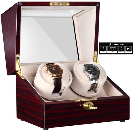 Automatic Handmade Double Watch Winder with Quiet Mabuchi Motor, LCD Digital Display Deluxe Wood Watch Winder