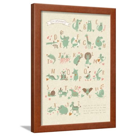 Stylish Zoo Alphabet in Vector. Lovely Animals with English Letters and Names. Best Abc-Poster in S Framed Print Wall Art By