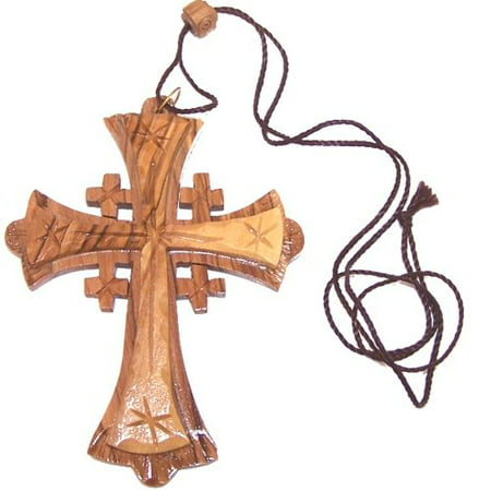 Large Grade A olive wood Jerusalem Cross necklace ( 4 inches - Cord can be adjusted )