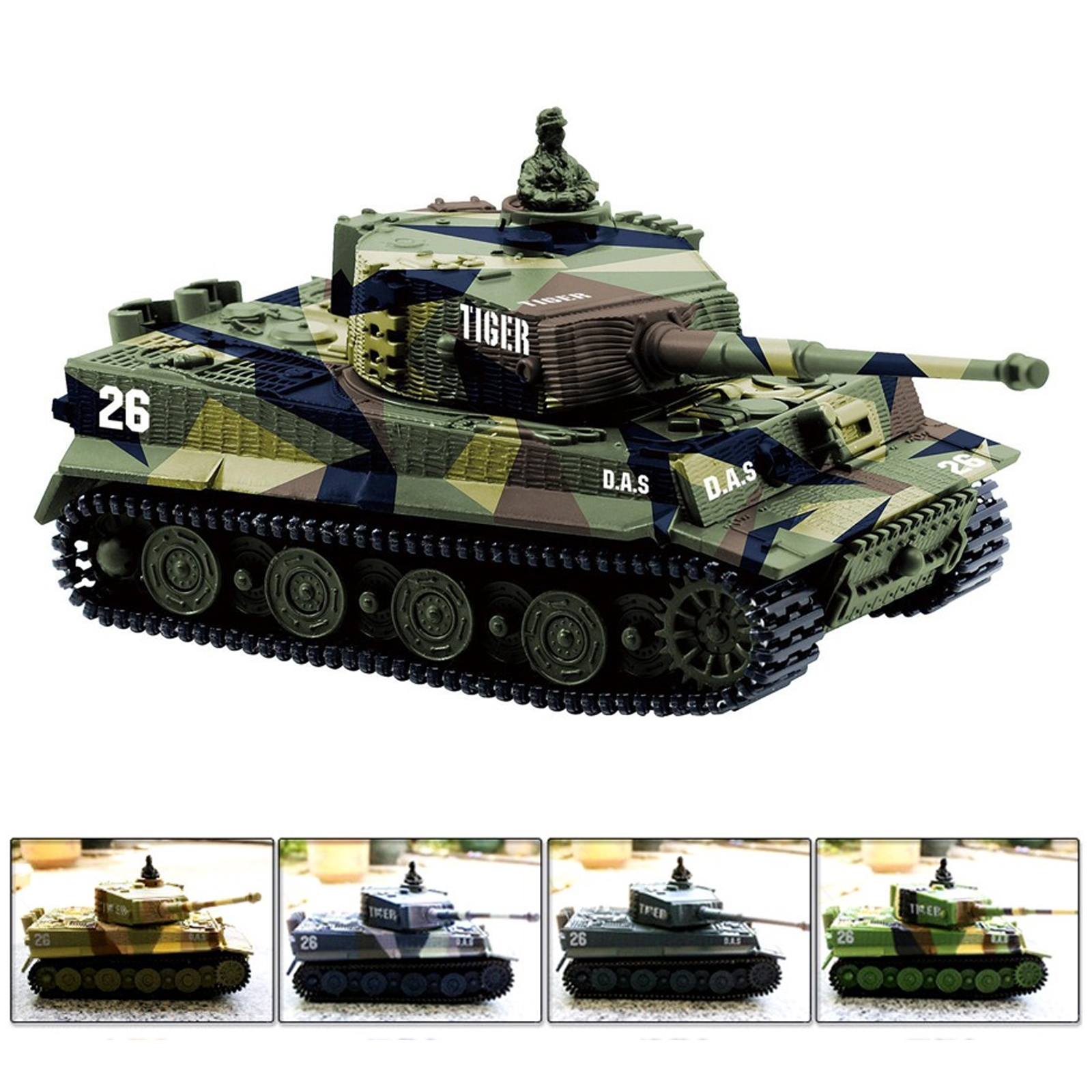 Cheerwing 1:72 Radio Remote Control Mini RC German Tiger I Panzer Tank with Sound, Rotating Turret (Vary Colors)