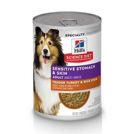 Hill's Science Diet (Spend $20, Get $5) Adult Sensitive Stomach & Skin Canned Dog Food, Tender Turkey & Rice Stew, 12.5 oz, 24 Pack wet dog food-See description for rebate