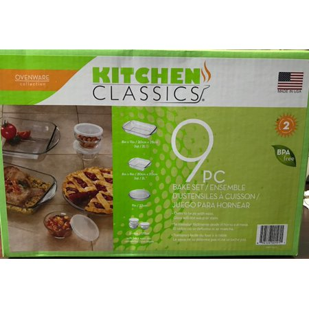 Kitchen Classics 9 Piece Bake Set Ovenware Bakeware Glass Oven To Table Usa