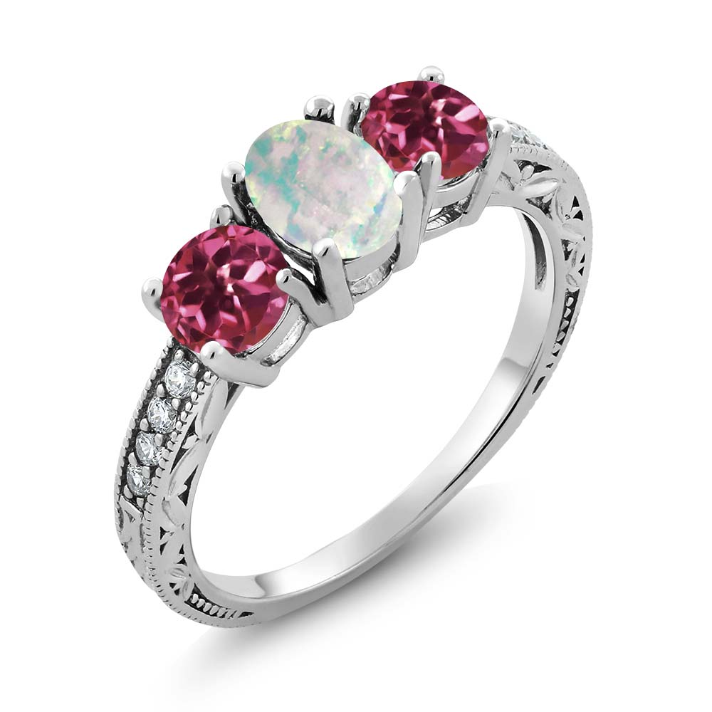 1.75 Ct Oval White Simulated Opal Pink Tourmaline 925 Sterling Silver Ring by