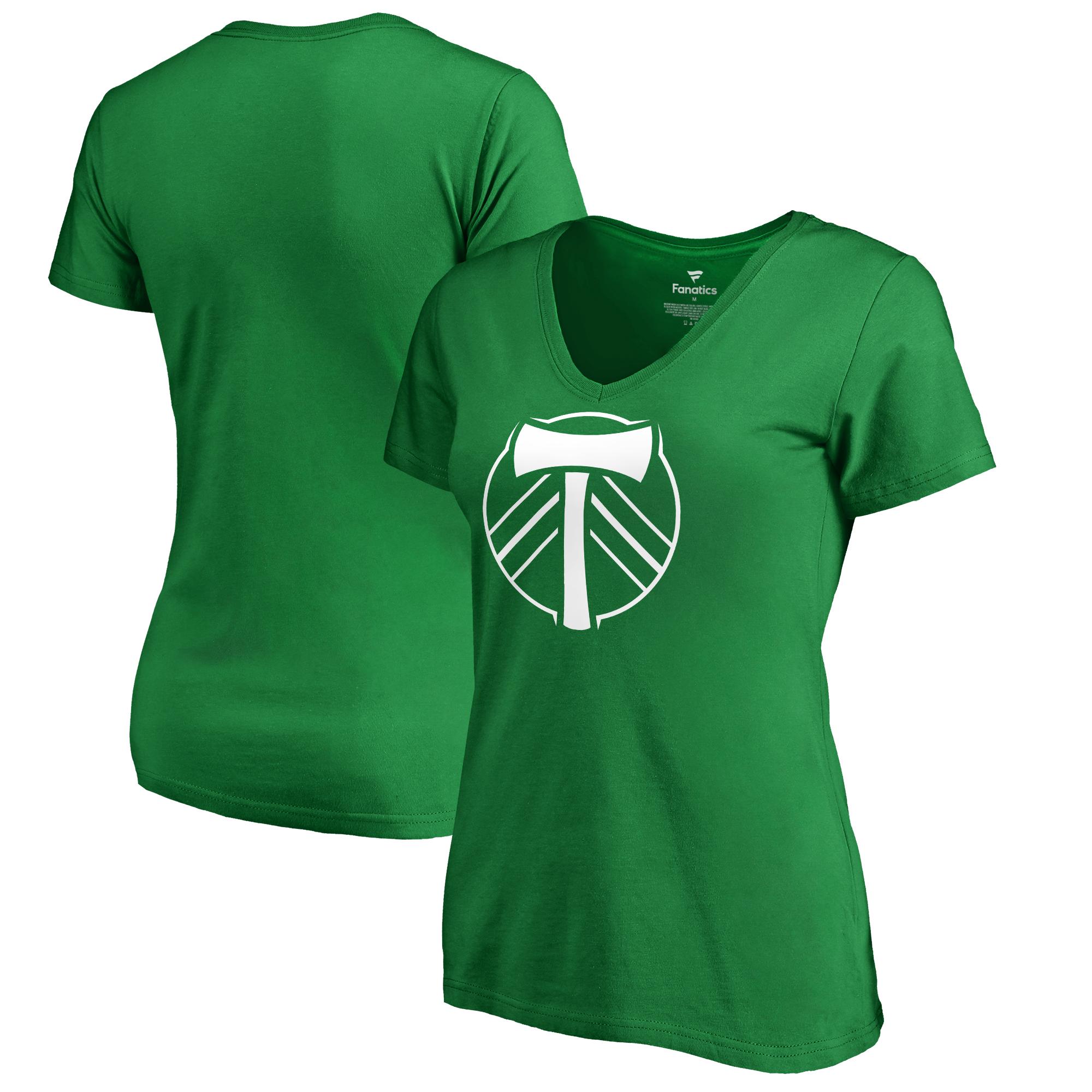 Portland Timbers Fanatics Branded Women's St. Patrick's Day White Logo V-Neck T-Shirt - Kelly Green