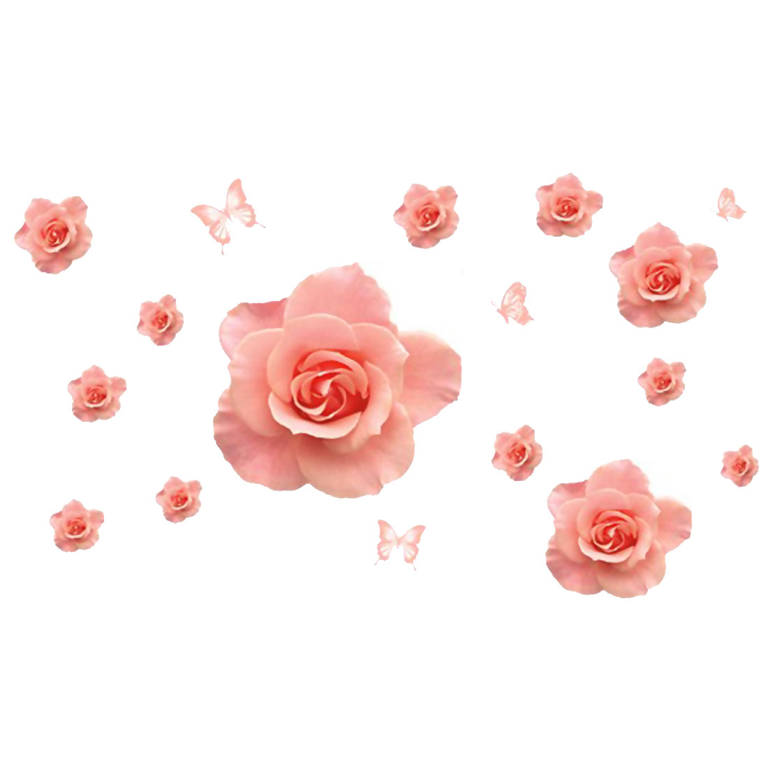 3D Rose Pattern Self-adhesive Removable Wall Sticker Paper Mural Ornament