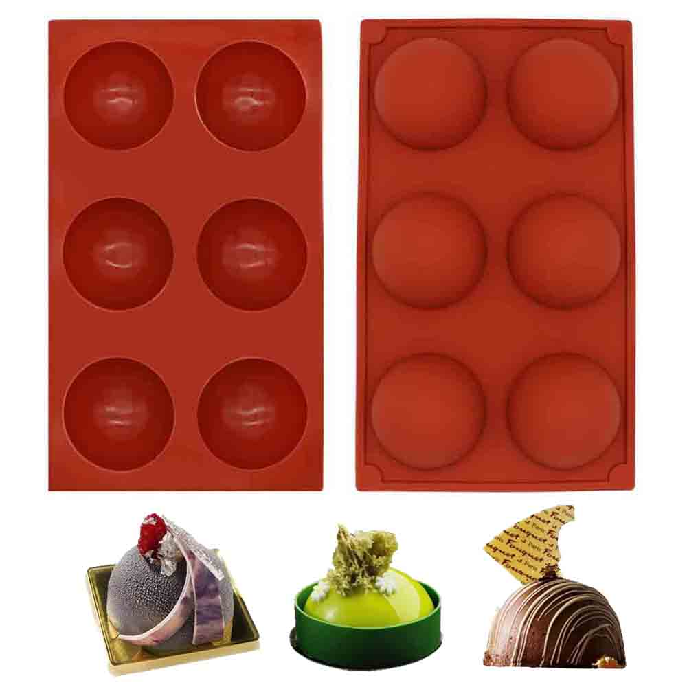 Details about  /6 Cavity Chocolate Cake Baking Tray Hemisphere Half Round Dome Silicone Mold