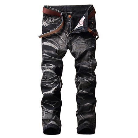 Men's Slim Fit Vintage Distressed Motorcycle Jeans Runway Biker Denim Jeans ()