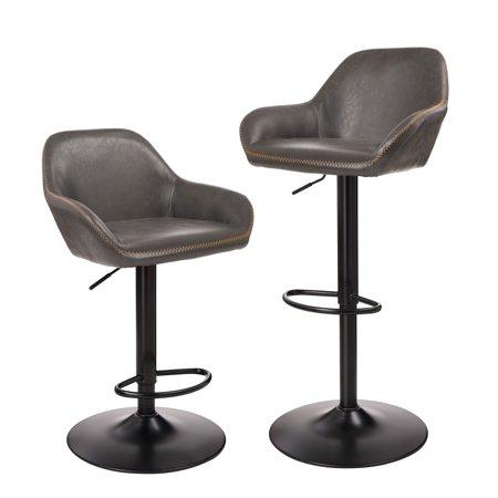 Amazing Glitzhome Llc Glitzhome Mid Century Vintage Leatherette Adjustable Bar Stool Set Of Two Cjindustries Chair Design For Home Cjindustriesco