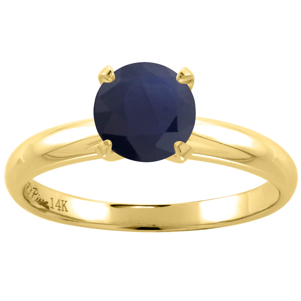 14K Yellow Gold Natural HQ Blue Sapphire Solitaire Engagement Ring Round 7 mm, size 5.5 by Gabriella Gold