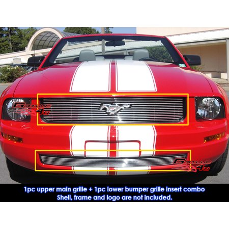 Compatible with 05-09 Ford Mustang V6 Billet Grille Combo Upper+Lower Bumper N19-A01876F Chrome Lower Grille