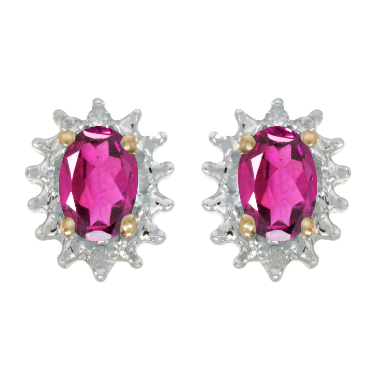 14k Yellow Gold Oval Pink Topaz And Diamond Earrings by