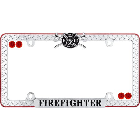 30936 Chrome/Black/Red Firefighter License Plate Frame with Fastener ...