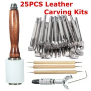 25PCS/Set Manual Leather Craft Carving Stamp Hammer Embossing Beveler Tools Kit