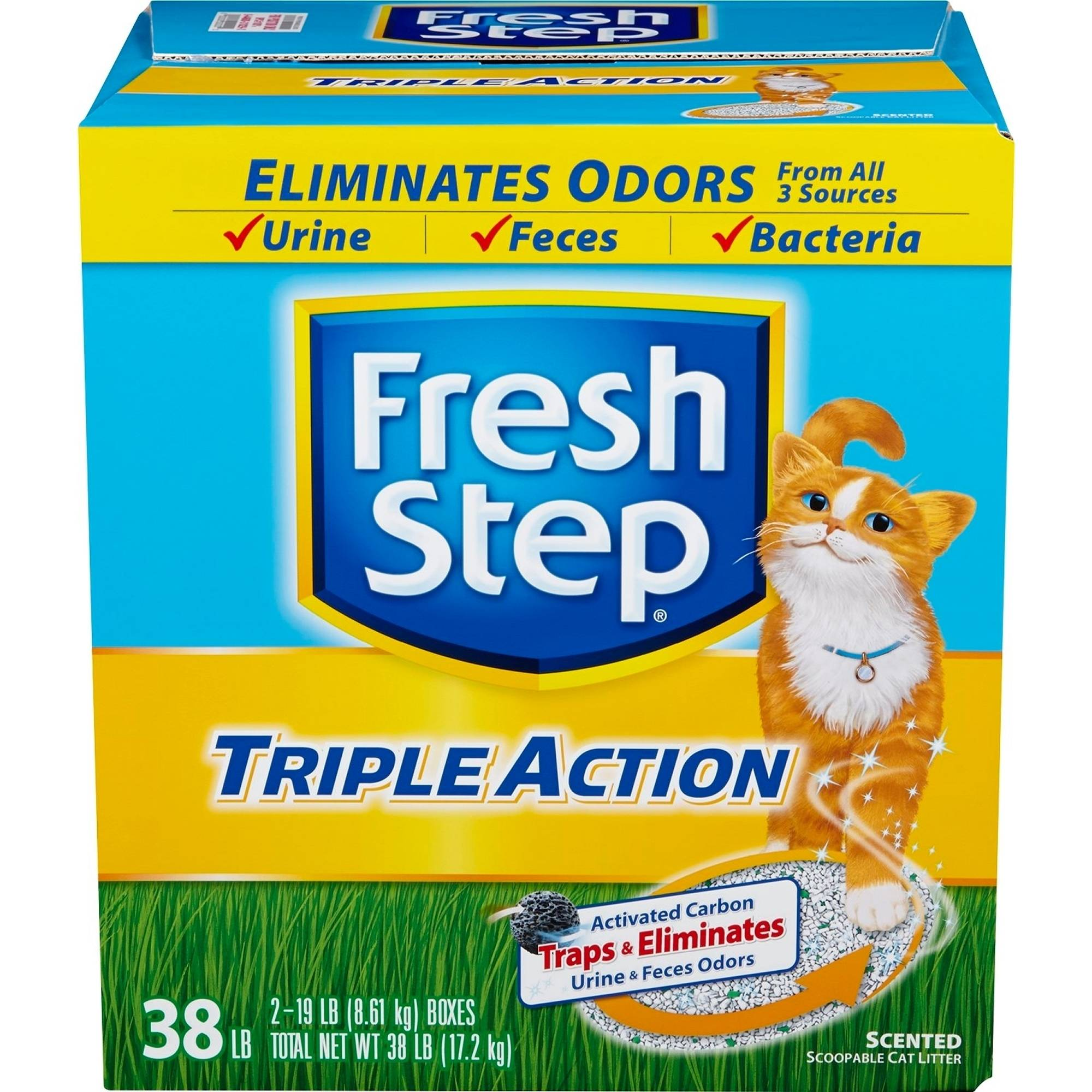 Fresh Step Triple Action Scented Scoopable Cat Litter, 38 lb Box