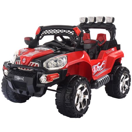 Costway 12V Kids Ride On Truck Car SUV MP3 RC Remote Control w/ LED Lights - Fire Truck For Kids To Ride