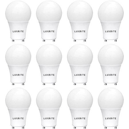 - 12-Pack GU24 LED A19 Light Bulb, Luxrite, 60W Equivalent, 2700K Soft White, Dimmable, 800 Lumens, LED GU24 Bulb, 9W, Enclosed Fixture Rated, UL Listed, Perfect for Ceiling Fans and Outdoor Fixtures