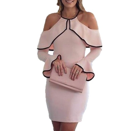 Women Fashion Flouncing Short Dresses Casual Long Sleeve Party Dress Pencil Dress Off Shoulder Dresses Wedding