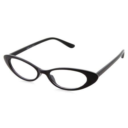 Retro 90s Black Slim Flat Clear Lens Cat Eye Sunglasses