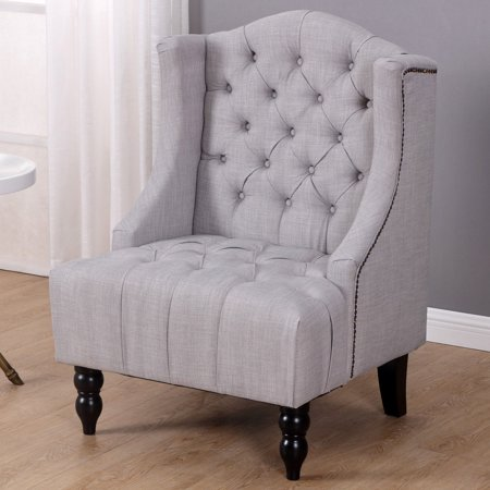 Costway Modern Tall Wingback Tufted Accent Armchair Fabric Vintage Chair Nailhead Gray