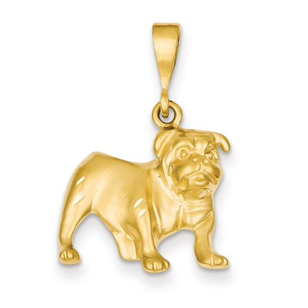 14K Yellow Gold Bulldog Dog Pendant
