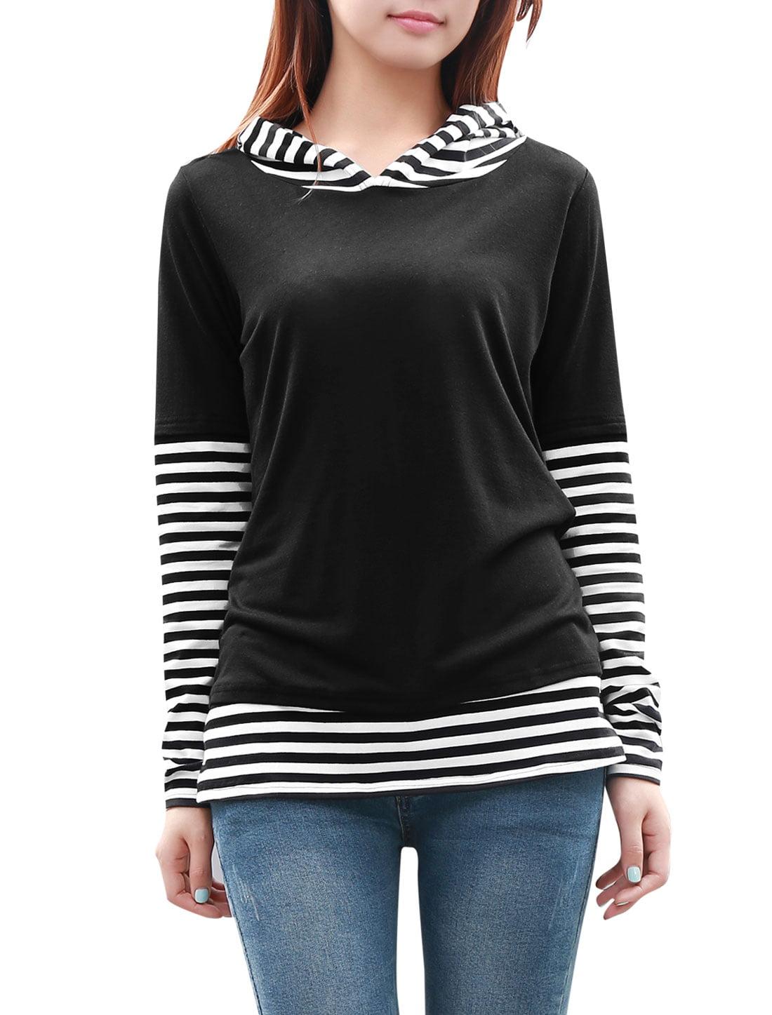 Unique Bargains Women's Pullover Hoodie with Stripe Panel Black (Size M / 8)